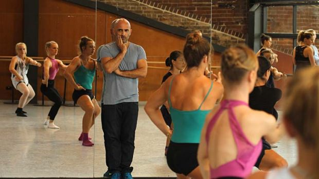 Step one, two  ... Rafael Bonachela keeps an eye on dancers at the casting call for Revolving Door.