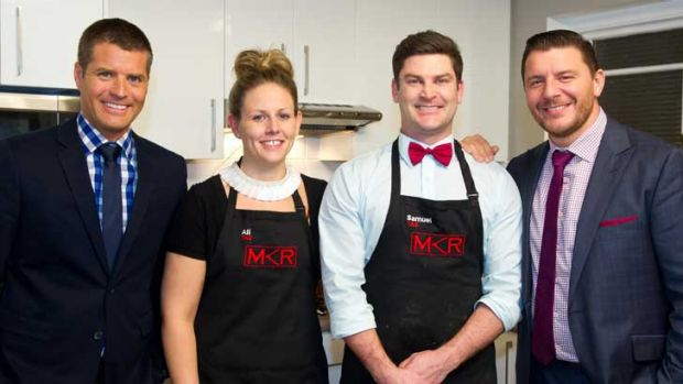 <i>My Kitchen Rules</i>'s Pete Evans, (left to right) Ali  Hawkins, Samuel Berechree and Manu Feildel.