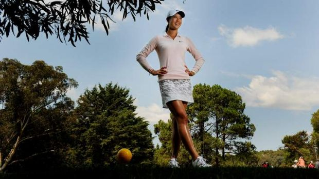 American golfer Michelle Wie at Royal Canberra Golf Club ahead of the Women's Australian Open which start's on Thursday.