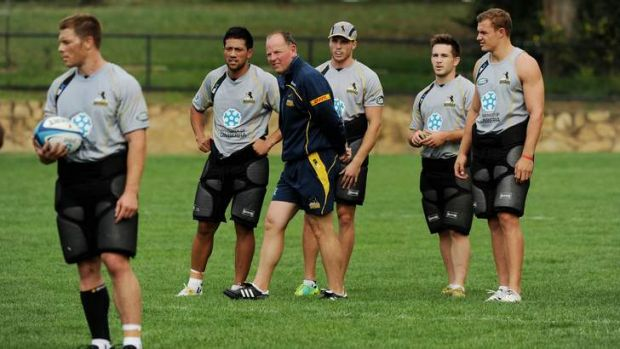 Brumbies coach Jake White  at training on Tuesday.