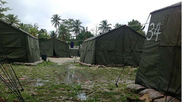 Tents set up at the camp for detainees.