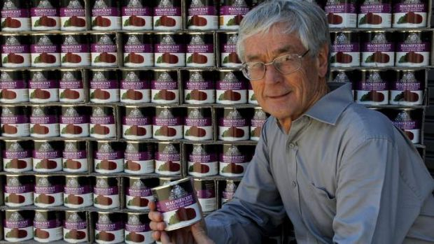 Legal row ... Dick Smith with a pallet load of his Australian grown sliced beetroot.