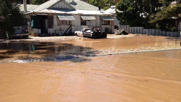 A burst water main had areas of South Perth looking more like flood-hit Queensland this morning. <b>Photo:</b> Channel ...