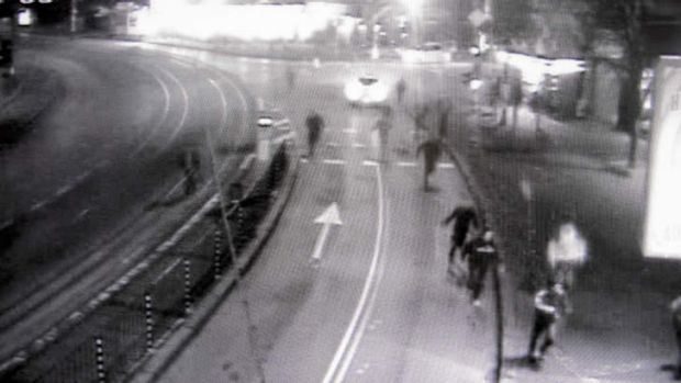 Fateful night … traffic surveillance footage of Andrei Monov's group chasing two Gypsies in the Bulgarian capital, ...