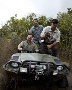 Shawn Heflick, Michael Cole and Greg Graziani terrorise snakes in <i>Python Hunters</i>.