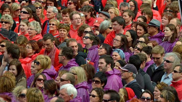 Victorian teachers striking on the steps of Parliament last year.