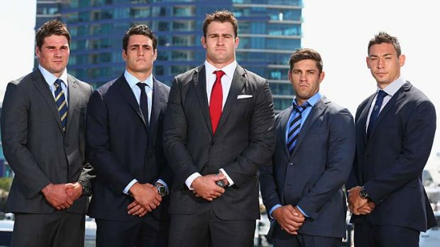 Please, no smiling … Super captains, from left, Ben Mowen (Brumbies), Dave Dennis (Waratahs), James Horwill ...