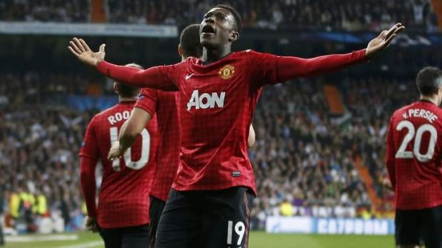Danny Welbeck celebrates putting Manchester United in front.