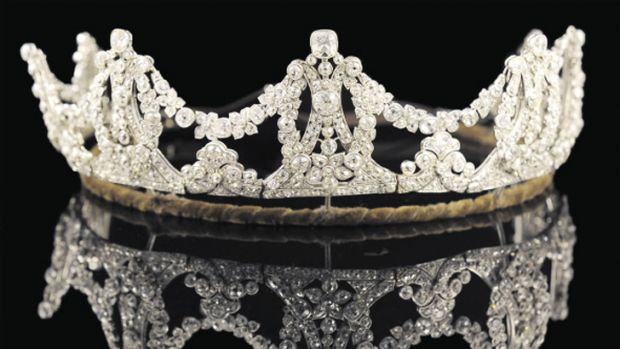 Madonna's Edwardian wedding tiara is on display as part of Sotheby's <i>Age of Elegance</i> exhibition.