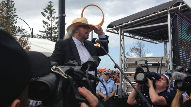 Barry Gibb addresses fans on his arrival.