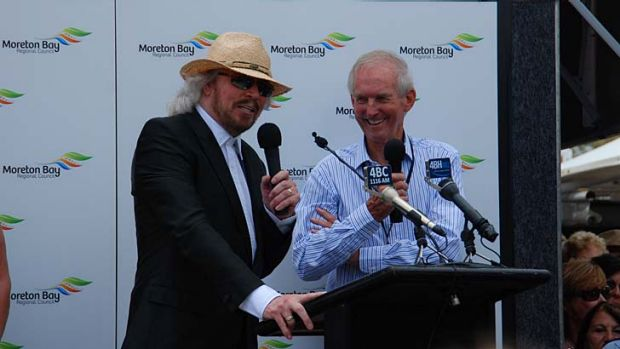 Barry Gibb with former 4BC broadcaster Bill Gates, who gave the Bee Gees their name.