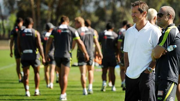Code names ... Wallabies coach Robbie Deans drops in on the Canberra Raiders last month.