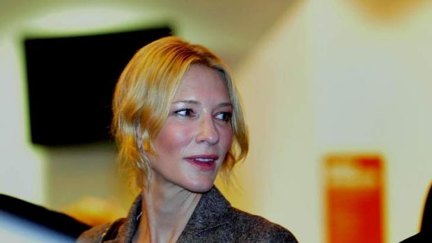 """Cate Blanchett arrives at the Canberra Theatre see a """"the secret river"""" performed in the Playhouse."""