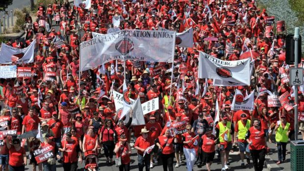 Lesson for the day: Thousands of teachers marched from Hisense Arena to Parliament House to protest over pay and conditions.