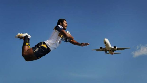 Brumbies winger Henry Speight takes flight at Canberra Airport on Thursday (and yes, this photo is real).