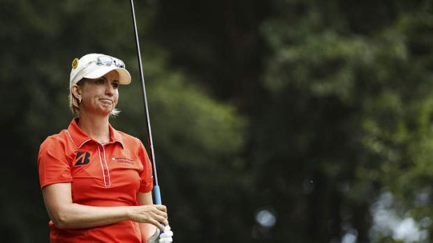 Karrie Webb reacts to a poor shot on Thursday.