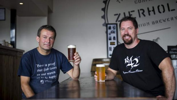 Christoph Zierholz and Mick Strickland at Zierholz Brewery in Fyshwick.