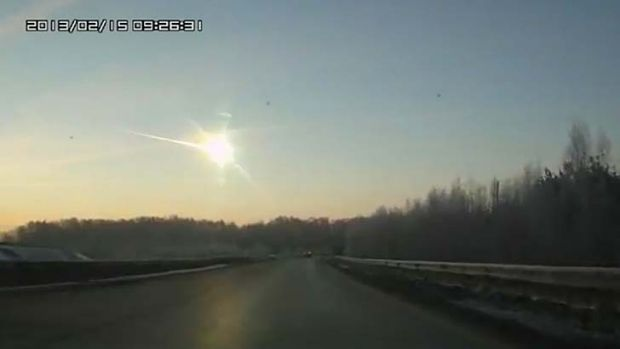The meteor heads towards the ground.