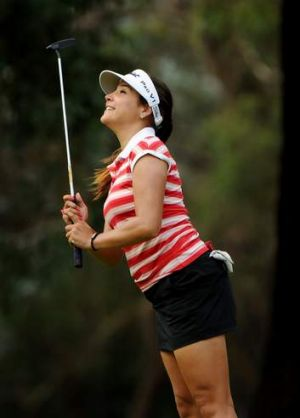 New leader Mariajo Uribe in action on Friday.