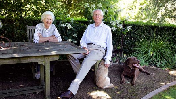 Tamie and Malcolm Fraser and their companions Grizzle and Choco in the garden at their Merricks property on the ...