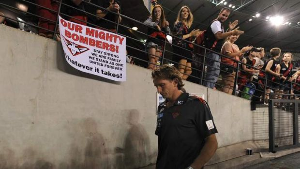 Hard fortnight: Essendon coach James Hird after Friday's matches.
