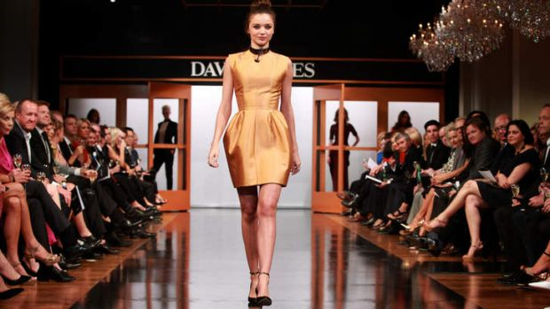 Miranda Kerr wearing a design by Kym Ellery at David Jones' autumn/winter 2013 fashion launch.