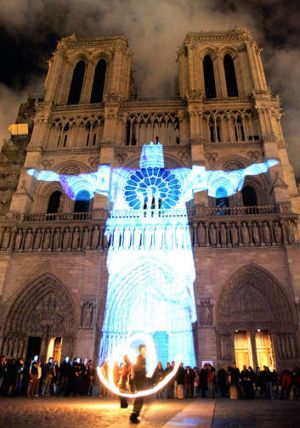 A Christ is projected onto Notre Dame during the Nuit Blanche festival.
