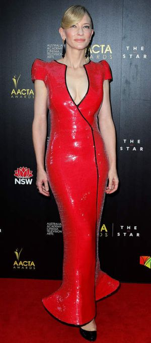 Cate Blanchett's red Armani Prive fits like a second skin.