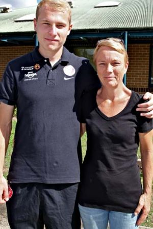 Mummy's boy … Aaron Mooy with his mother, Sam.