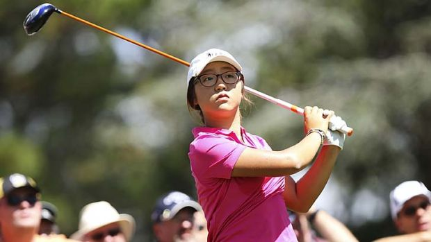 What's the rush … Lydia Ko keeps watch on her shot in the Women's Australian Open at Royal Canberra Golf Club.