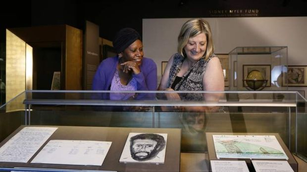 Jessie Mabo with Yvonne Thompson from Melbourne, one of the Human Brochures, take a look at papers that belonged to ...