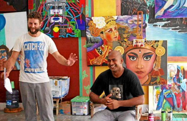 Australian artist Ben Quilty addresses a class with Bali Nine member Myuran Sukumaran as his subject during painting ...
