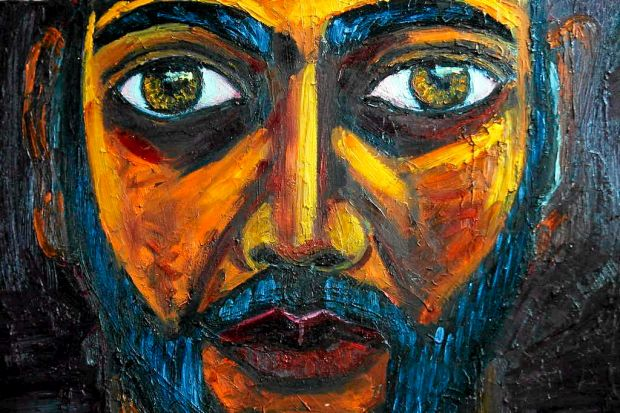 Bali Nine member Myuran Sukumaran's  self portrait which he painted in the Kerobokan jail is displayed during a visit by ...