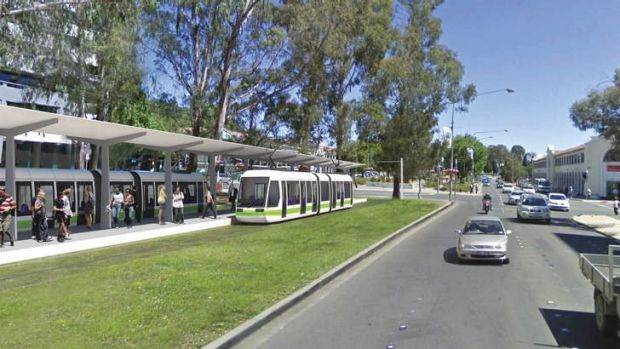 An artist's impression of the City interchange for the proposed Canberra light rail.