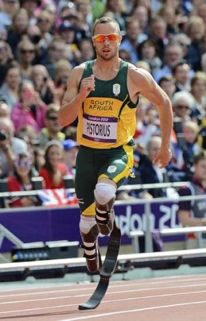 Trailblazer ... Oscar Pistorius running in the men's 400m heats at the London Olympics.