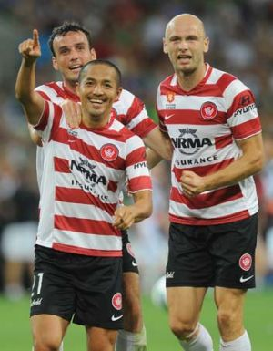 Shinji Ono of the Wanderers celebrates a goal at AAMi Park.