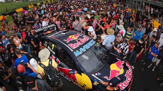 Crowd pleaser: Saturday's V8 Supercars pre-season test at Sydney Motorsport Park.