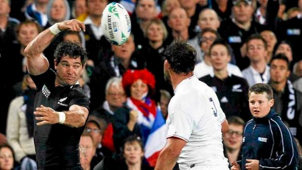 Stephen Donald passes the during the 2011 World Cup final against France.