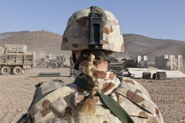 """Behind Point of View"", middle east area of operations - Female soldier."