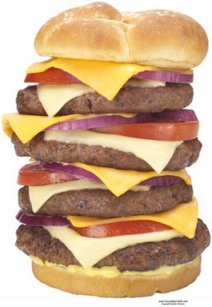 Triple Bypass burger at Heart Attack Grill.