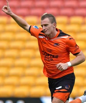Besart Berisha celebrates after scoring against the Wellington Phoenix.