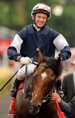 Brett Prebble on Green Moon after wining the Melbourne Cup last year.