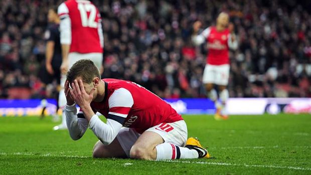 So close: Arsenal's Jack Wilshere after missing a late chance.