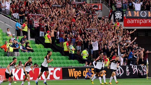 The Western Sydney Wanderers get a welcome from their fans at AAMI Park.
