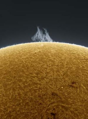 The view from Buffalo ... an amazing view of the sun, photographed from a backyard in New York.