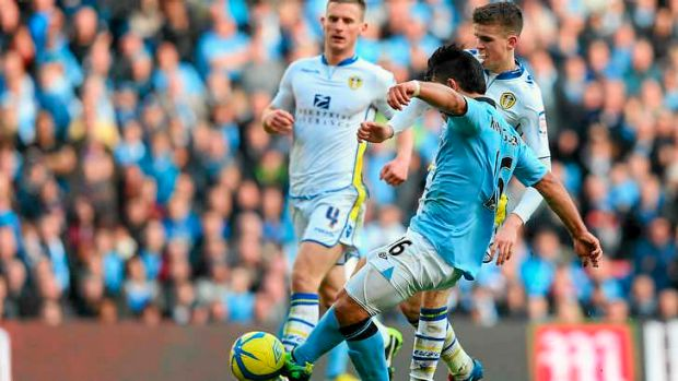 Sergio Aguero of Manchester City scores his second goal.