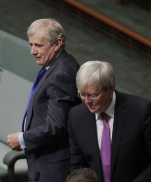 Simon Crean, with former PM Kevin Rudd, has said the latest poll results are a wake-up call for Labor.