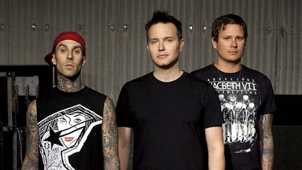 Replacement ... Blink 182 will continue their tour without Barker, far left.