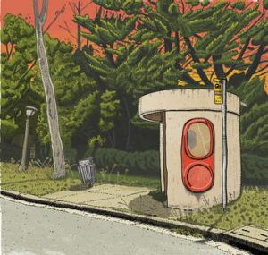 Trevor Dickinson's take on the last of Canberra's 1970s bus shelters with clear plastic windows.