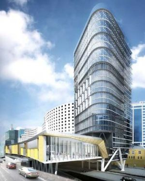 Drawing board … an artist's impression of the revamped Four Points by Sheraton, with the podium over the Western ...